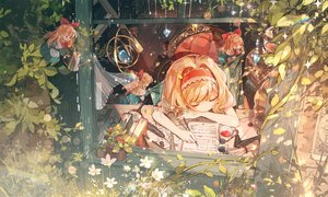 Rating: Safe Score: 78 Tags: alice_margatroid blonde_hair book drink feathers flowers headband paper rokusai shanghai_doll sleeping touhou User: BattlequeenYume
