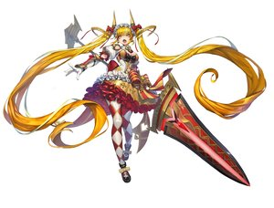 Rating: Safe Score: 15 Tags: armor blonde_hair bow breasts cleavage dress elbow_gloves fang gloves headdress horns long_hair navel original pantyhose ribbons romana sword twintails weapon white yellow_eyes User: otaku_emmy