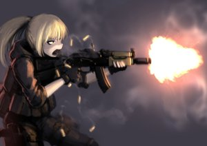 Rating: Safe Score: 87 Tags: armor blonde_hair gloves hellshock original ponytail weapon User: TommyGunn