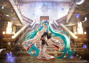 Rating: Safe Score: 49 Tags: flowers hatsune_miku japanese_clothes kimono morikura_en stairs vocaloid watermark User: mattiasc02