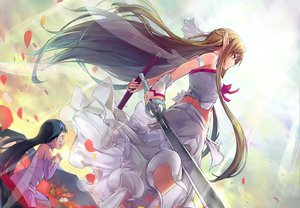 Rating: Safe Score: 188 Tags: dress gloves long_hair petals pointed_ears shouin sword sword_art_online weapon wings yui_(sword_art_online) yuuki_asuna User: opai