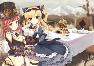 Rating: Safe Score: 98 Tags: 2girls aliasing alice_in_wonderland alice_(wonderland) blonde_hair blue_eyes breasts brown_eyes brown_hair cake cleavage dress drink food grass hat mad_hatter short_hair stockings thighhighs tsukikage_nemu twintails User: FormX