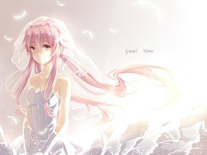 Rating: Safe Score: 157 Tags: a_luo feathers gasai_yuno mirai_nikki pink_eyes pink_hair wedding_attire User: FormX