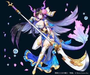 Rating: Safe Score: 77 Tags: applecaramel_(acaramel) black_hair boots breasts bubbles chain cleavage dress elbow_gloves gloves horns kurokishi_to_shiro_no_maou long_hair petals purple_eyes spear tail thighhighs weapon User: otaku_emmy