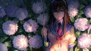 Rating: Safe Score: 138 Tags: anthropomorphism blue_eyes brown_hair flowers glasses headband kantai_collection kzcjimmy leaves long_hair ooyodo_(kancolle) school_uniform tie umbrella User: Flandre93