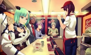 Rating: Safe Score: 36 Tags: animal_ears apron blonde_hair braids breasts cleavage collar cowgirl dark_skin drink dso elbow_gloves food gloves gray_hair green_eyes green_hair group male original paper purple_hair short_hair suit tie twintails User: FormX
