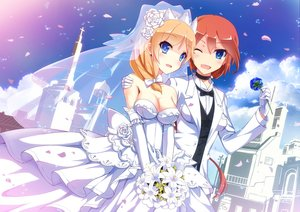 Rating: Safe Score: 115 Tags: 2girls anthropomorphism blonde_hair blue_eyes blush bow breasts choker cleavage dress elbow_gloves flowers gloves headdress nelson orange_hair petals ponytail rodney shoujo_ai suit uiu wedding wedding_attire wink zhanjian_shaonu User: Flandre93