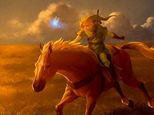 Rating: Safe Score: 86 Tags: blonde_hair blue_eyes epona gloves hat link_(zelda) navi nintendo om_(carbohydratism) sword the_legend_of_zelda weapon User: SonicBlue
