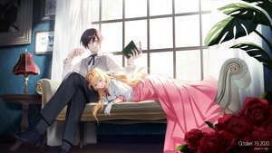 Rating: Safe Score: 39 Tags: blonde_hair book couch dress flowers gloves kiwi_(pixiv6429539) long_hair male original rose sleeping User: BattlequeenYume