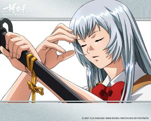 Rating: Safe Score: 21 Tags: blue_hair bow chouun_shiryuu ikkitousen long_hair school_uniform sword tagme watermark weapon User: Xtea