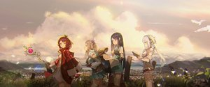 Rating: Safe Score: 119 Tags: animal aqua_eyes atelier atelier_firis bird brown_hair clouds dress firis_mistlud gray_hair green_eyes group liane_mistlud long_hair novelance pink_eyes plachta short_hair sky sophie_neuenmuller thighhighs User: RyuZU