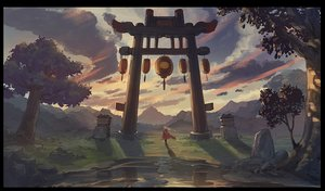 Rating: Safe Score: 26 Tags: apec-lan clouds landscape original scenic sky torii tree User: RyuZU