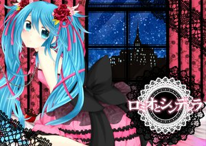 Rating: Safe Score: 79 Tags: apple blue_eyes blue_hair bow chain crown dress flowers food hatsune_miku long_hair ponytail ribbons romeo_and_cinderella_(vocaloid) rose sorakase_sawa twintails vocaloid User: SciFi