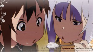 Rating: Safe Score: 15 Tags: brown_eyes brown_hair close food kannagi_noel purple_eyes purple_hair sora_no_woto sorami_kanata User: mikucchi