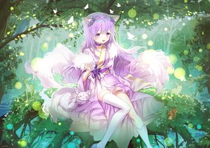 Rating: Safe Score: 61 Tags: animal animal_ears bird blush butterfly choker forest foxgirl japanese_clothes kimono kneehighs long_hair mullpull original purple_eyes purple_hair rabbit rain signed tail thighhighs tree water User: otaku_emmy