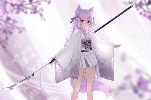 Rating: Safe Score: 50 Tags: aliasing animal_ears flowers foxgirl guo582 japanese_clothes long_hair original polychromatic purple_eyes purple_hair skirt spear tail weapon User: BattlequeenYume