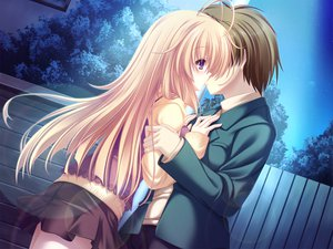 Rating: Safe Score: 29 Tags: blonde_hair game_cg kiss meri_chri mikagami_mamizu night purple_eyes seiya_mashiro skirt whirlpool User: Wiresetc