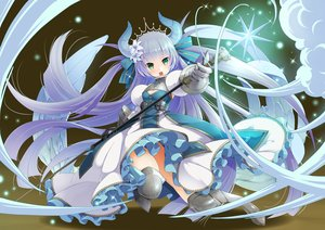 Rating: Safe Score: 22 Tags: armor breasts cleavage dress gloves gray_hair green_eyes horns long_hair magic original staff tagme_(artist) thighhighs tiara User: luckyluna