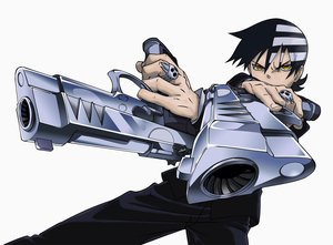 Rating: Safe Score: 64 Tags: all_male black_hair death_the_kid gun male soul_eater weapon yellow_eyes User: SonicBlue