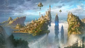 Rating: Safe Score: 153 Tags: airship building city clouds kotakan landscape magic original scenic signed sky tree water waterfall User: otaku_emmy