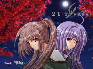 Rating: Safe Score: 6 Tags: 21 blue_hair brown_eyes brown_hair futami_mao futami_mio long_hair school_uniform twins User: oranganeh