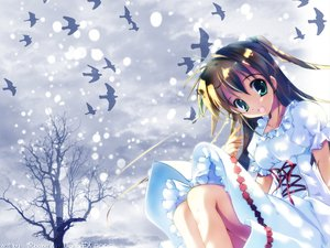 Rating: Safe Score: 10 Tags: animal bird brown_hair dress green_eyes long_hair snow tagme tree User: Oyashiro-sama