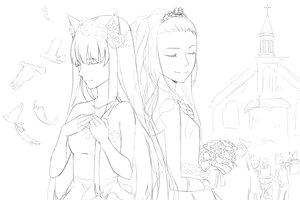 Rating: Safe Score: 29 Tags: 2girls animal_ears catgirl dress flowers gloves kimura_(ykimu) long_hair monochrome original sketch wedding wedding_attire User: SciFi