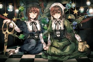 Rating: Safe Score: 67 Tags: 2girls bicolored_eyes brown_hair dress flowers hat long_hair rose rozen_maiden sakuyu short_hair souseiseki suiseiseki twins User: C4R10Z123GT