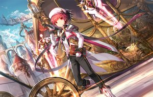 Rating: Safe Score: 12 Tags: bell book boots building city clouds elsword elsword_(character) gloves hat red_eyes red_hair scorpion5050 short_hair sky sword weapon User: RyuZU
