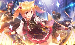 Rating: Safe Score: 89 Tags: animal_ears arknights black_hair blonde_hair brown_hair building cape catgirl croissant_(arknights) dress exusiai_(arknights) fang gloves group gun halo long_hair microphone music pantyhose ponytail purple_hair short_hair skirt sora_(arknights) tail texas_(arknights) thighhighs tie toki_(toki_ship8) twintails weapon wings yellow_eyes User: BattlequeenYume