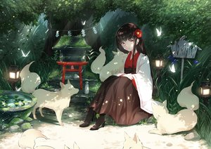 Rating: Safe Score: 53 Tags: animal black_hair boots brown_eyes forest fox grass japanese_clothes kimono long_hair original sena_tea29 shade shrine torii tree User: BattlequeenYume