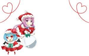 Rating: Safe Score: 18 Tags: 2girls christmas hat patchouli_knowledge remilia_scarlet santa_costume santa_hat touhou vampire white wings User: Oyashiro-sama