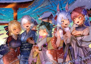 Rating: Safe Score: 35 Tags: animal_ears bicolored_eyes blonde_hair blush bow bunnygirl clouds dark_skin flowers gloves green_hair group hololive houshou_marine japanese_clothes kimono long_hair miyasaka_ori pointed_ears red_hair shiranui_flare shirogane_noel short_hair signed snow torii uruha_rushia usada_pekora white_hair yellow_eyes User: Maboroshi