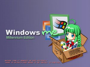 Rating: Safe Score: 7 Tags: anthropomorphism blue_eyes green_hair me os-tan twintails windows User: Oyashiro-sama