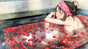 Rating: Questionable Score: 87 Tags: bath breasts brown_hair front_wing game_cg ino kagamihara_alice momoiro_closet nude petals short_hair water User: BattlequeenYume
