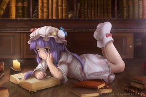 Rating: Safe Score: 68 Tags: book boots novcel patchouli_knowledge purple_eyes purple_hair touhou User: luckyluna