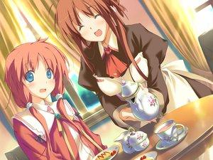 Rating: Safe Score: 6 Tags: amagahara_inaho blue_eyes blush brown_hair drink favorite food game_cg happy_margaret! kokonoka maid red_hair sakura_mao User: 秀悟