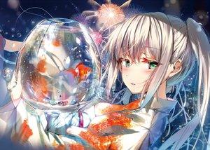Rating: Safe Score: 57 Tags: animal fireworks fish gray_hair green_eyes japanese_clothes long_hair original water wingheart yukata User: BattlequeenYume