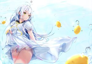 Rating: Safe Score: 143 Tags: blue_hair blush bubbles dress food fruit long_hair na_kyo original scan school_uniform summer_dress underwater water yellow_eyes User: BattlequeenYume