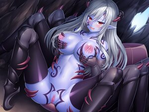 Rating: Explicit Score: 62 Tags: breast_hold breasts censored horns lactation lambda nipples original pointed_ears pussy tattoo User: BattlequeenYume