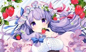 Rating: Safe Score: 60 Tags: blush bow breasts close flowers food fruit hat long_hair patchouli_knowledge purple_eyes purple_hair ribbons shiika_yuno strawberry touhou User: luckyluna