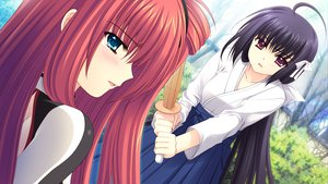 Rating: Safe Score: 3 Tags: game_cg hananomiya_ako japanese_clothes long_hair nishimata_aoi sekai_seifuku_kanojo weapon yamino_yumeko User: oranganeh