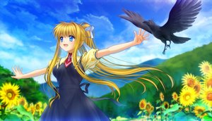Rating: Safe Score: 39 Tags: air animal bird blonde_hair blue_eyes bow clouds dress flowers grass kamio_misuzu landscape long_hair moonknives ponytail scenic seifuku sky sunflower User: gnarf1975