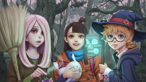 Rating: Safe Score: 18 Tags: akko_kagari forest glasses gohpot hat hoodie little_witch_academia lotte_yanson magic realistic signed staff sucy_manbavaran tree watermark witch witch_hat User: luckyluna