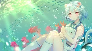 Rating: Safe Score: 62 Tags: aliasing animal_ears blue_hair original ppyono red_eyes short_hair tail underwater water User: Fepple
