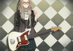 Rating: Safe Score: 73 Tags: blonde_hair brown_eyes cigarette glasses guitar instrument long_hair scarf skirt stockings tagme User: w7382001