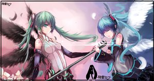 Rating: Safe Score: 144 Tags: aqua_eyes aqua_hair boqboq elbow_gloves feathers gloves hatsune_miku long_hair microphone miku_append tie twintails vocaloid wings User: FormX