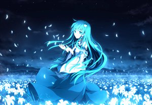 Rating: Safe Score: 111 Tags: clouds dress flowers grass jofree kochiya_sanae long_hair night petals sky touhou User: STORM