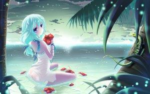 Rating: Questionable Score: 158 Tags: ass barefoot beach blue_hair blush dress erect_nipples flowers hinasaki long_hair ribbons see_through sky water User: Tensa