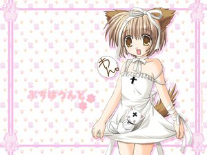 Rating: Safe Score: 35 Tags: animal_ears bell brown_eyes brown_hair doggirl dress fang nekoneko ribbons tail User: Oyashiro-sama